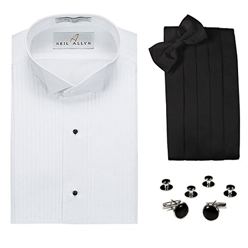 Pleated Front Tuxedo Dress Shirt, Cummerbund, Bow Tie, Cufflink & Studs Set - Wing Collar, 3XL (19.5-20