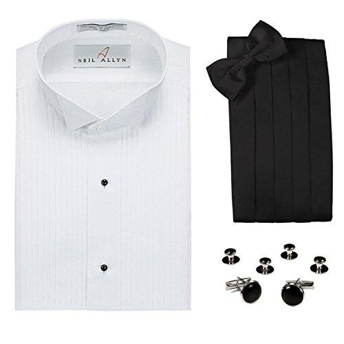 Tuxedo Shirt, Cummerbund, Bow Tie, Cufflink & StudsSet-Wing Collar, S (14-14.5