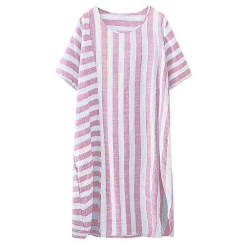 Casual Cotton Dress for Women,QueenMMComfy Breathable Striped Short Sleeve O Neck Dress Loose Fit Summer Dress Pink