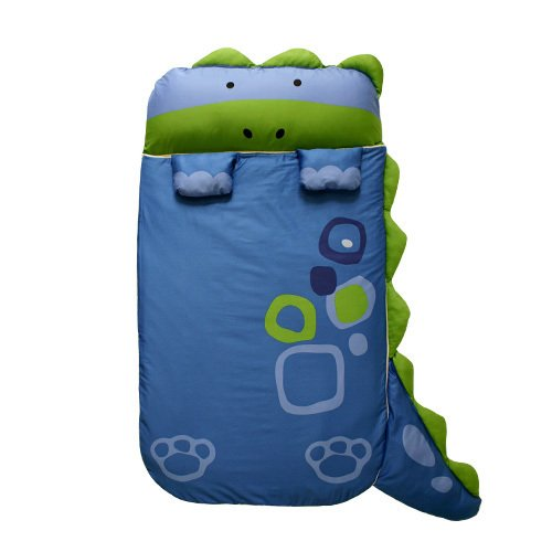 MILO & GABBY Nap Mat with Duvet, Removable Pillow and Blanket, 320 Thread Count Cotton (Dinosaur - Dylan)