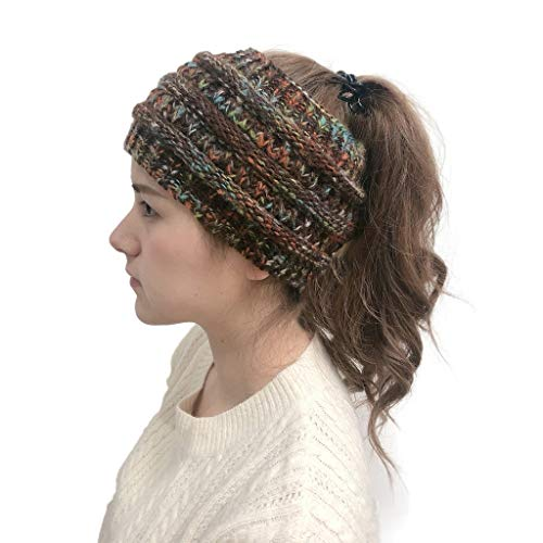 Winter Warm Wool Crochet Knit Hat Headgear,Crytech Women's Ponytail Messy Bun BeanieTail Knitting Headband Fleece Lined Head Wrap Cap Soft Stretch Cable Knitted Ribbed Skull Hat for Girls (Coffee)