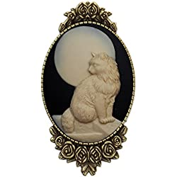 Moon Cat Brooch Pin Rose Decor Antique Brass Animal Fashion Jewelry Pouch for Gift