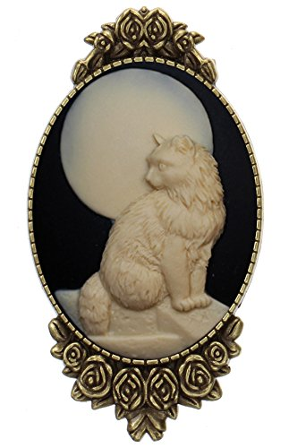 Yspace Moon Cat Brooch Pin Rose Decor Antique Brass Animal Fashion Jewelry Pouch for Gift