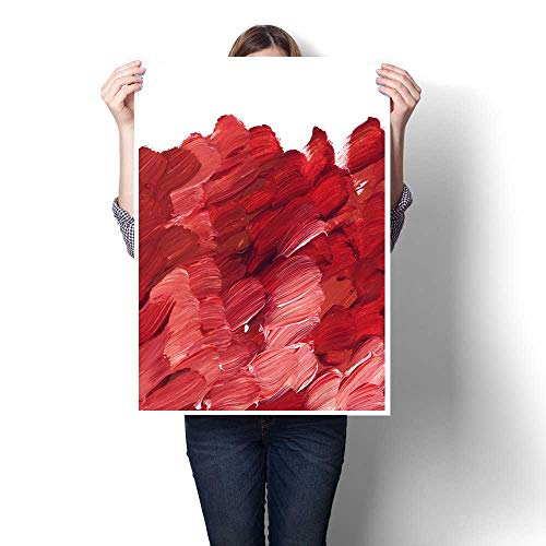 The Picture For Home Decoration deep red acrylic paint brush stroke for background hand drawn abstract illustration for header greeting card poster wallpaper Canvas Art Posters Prints Wall Art 32