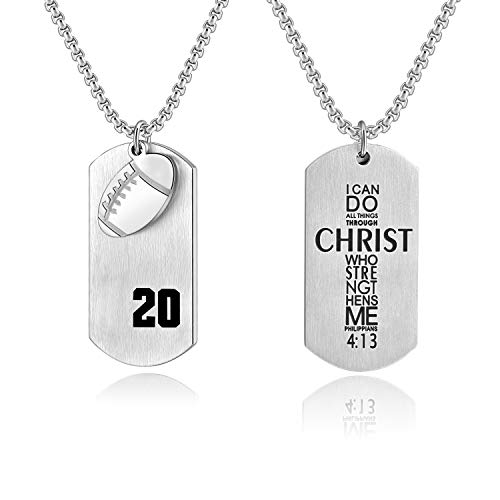 Bible.Shop Boys' Football Player Number 20 Stainless Steel Cross Dog Tag Pendant I Can Do All Things Bible Verse Necklace(Silver) ()