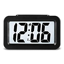 CHENG SAN Creative Smart Nightlight Mini Digital Alarm Clock, Alarm Clock with Adjustable Light, Ultra-Quiet Bed/Desktop/Travel Electronic Clock(CSNZ-35) (35 Black)