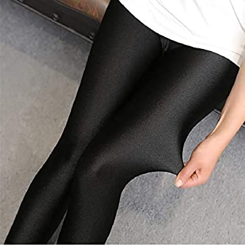 Ayujia Leggings Leggings da Donna Autunno-Primavera Leggings Lucidi Elastico Stovepipe Pantaloni Leggings Pantaloni Sezione Sottile