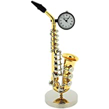 Miniature Saxophone Two Tone Ornament Novelty Collectors Clock 9687