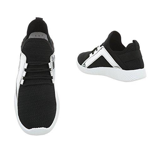 Ital-Design Sneakers Low Damenschuhe Schnürsenkel Freizeitschuhe Schwarz AN-11