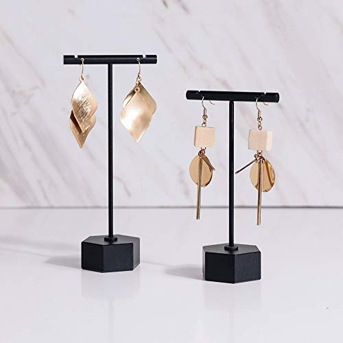 """BanST Metal 2pcs Earring Display T Stand for Show, T Bar Jewelry Holder Tree for Retail Photography 【Black-Hexagon Base 2pcs Height 4.5"""" and 5.3""""】"""