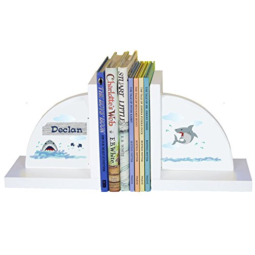 Personalized Shark Tank White Wooden Bookends by MyBambino (Image #1)