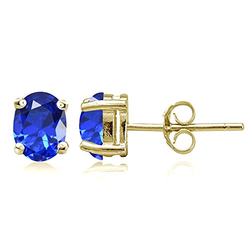 Yellow Gold Flashed Sterling Silver Simulated Blue Sapphire 7x5mm Oval Stud Earrings