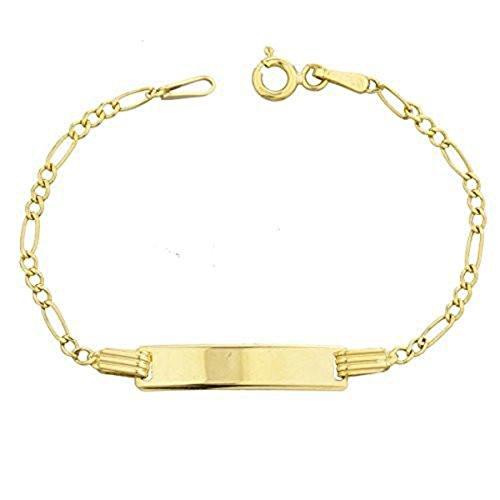 Chain Childrens Id Bracelet - 10k Gold 6 Inch Children Id Bracelet Figaro Link Chain (GO-1879)