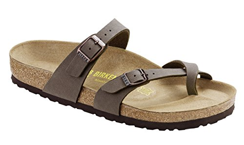 (Birkenstock Womens Mayari Holiday Birko-Flor Beach Summer Flat Sandals - Mocha - 9)