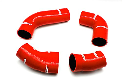 Autobahn88 SuperCharger Silicone Hose Kit, Model ASHK224-RD-WC (Red -with Clamp Set):
