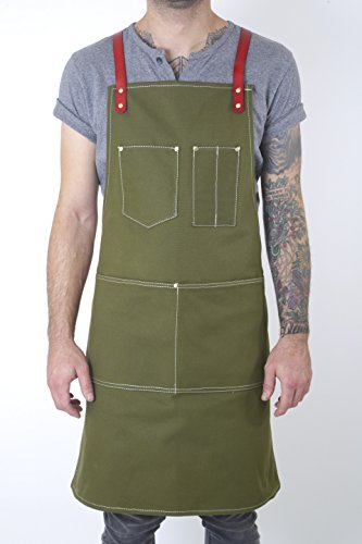 Twig and Bones Canvas and Leather Utility Apron with Pockets - Green (50s Haircuts)