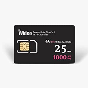 Europe SIM Card Prepaid Unlimited Data 38 Countries 25 Days 1000MB in 4G Speed