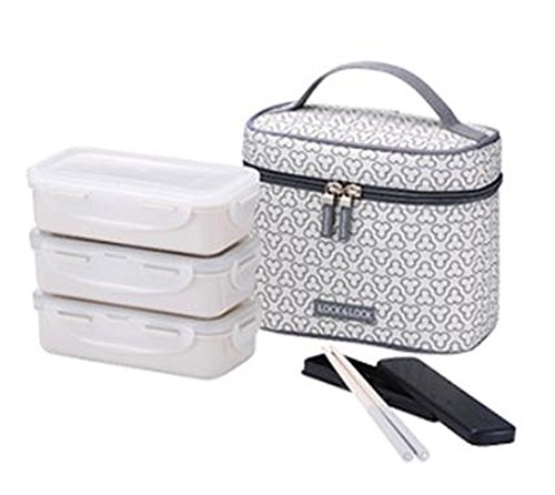 Lock and Lock CLOVER 3 Combo Lunch Box Bento Boxes (IVORY)