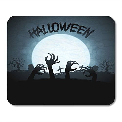 Nakamela Mouse Pads Cartoon Black Hand 10 Halloween with Zombies and The Moon Monster Horror Mouse mats 9.5