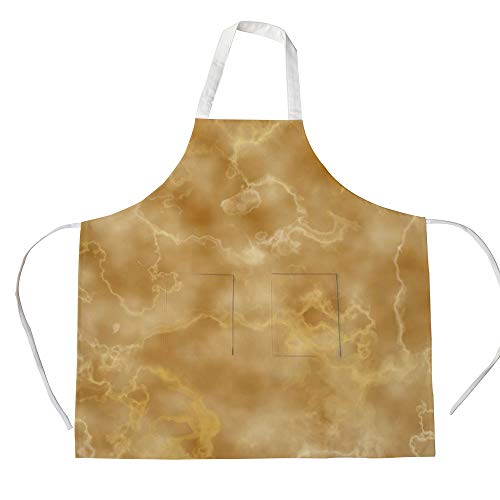 Cotton Linen Apron,Two Side Pocket,Marble,Cloudy Granite Natural Crystal Rock Formation Motif Earthen Tones Print,Light Coffee and Brown,for Cooking Baking Gardening ()