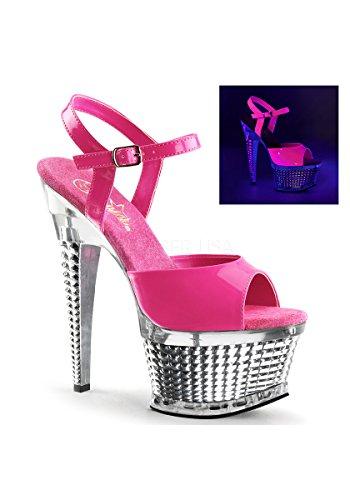 Pleaser ILLUSION-659UV Neon Hot Pink Pat/Slv Chrome
