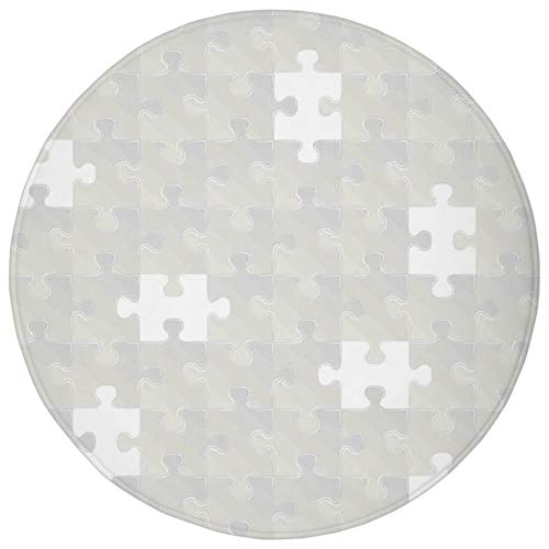 Round Rug Mat Carpet,Grey,Abstract Puzzle Patterns in Simple Light Background Shabby Mosaic Ornament Idea Kids Home Decor,Gray,Flannel Microfiber Non-Slip Soft Absorbent,for Kitchen Floor Bathroom]()