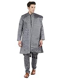SKAVIJ Men's Embroidered Kurta Pajama Jacket and Stole Set (Dary Gray,Medium)