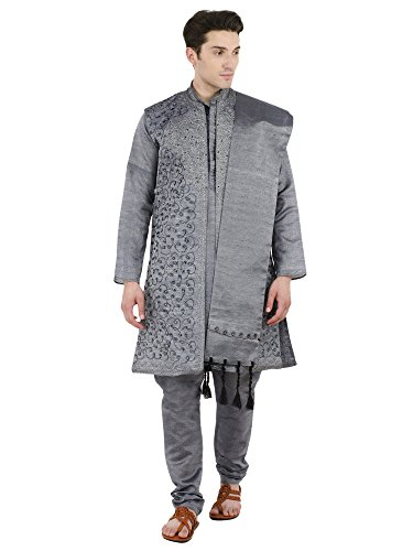 SKAVIJ Men's Embroidered Kurta Pajama Jacket and Stole Set (Large, Black) ()