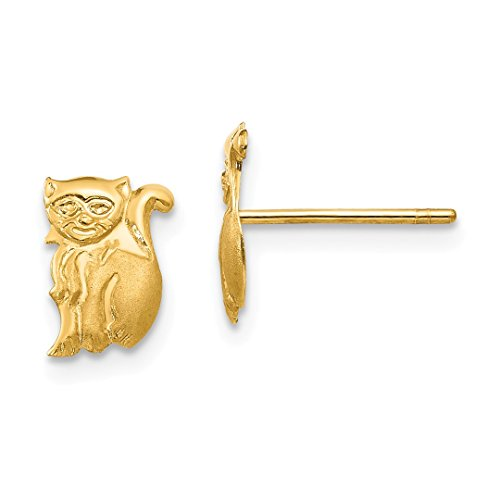 ICE CARATS 14kt Yellow Gold Cat Post Stud Earrings Earring Animal Dog Fine Jewelry Ideal Gifts For Women Gift Set From Heart 14kt Gold Cat Ring
