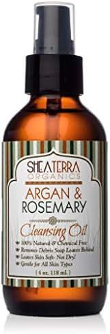 Shea Terra Organics Argan & Rosemary Cleansing Oil | Deep Pore Treatment, Bacteria Remover, Vitamin E Oil | All Skin Types (4 OZ)