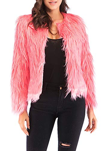 Anself Women's Shaggy Faux Fur Coat Solid Color Long Sleeve Short Jacket ()