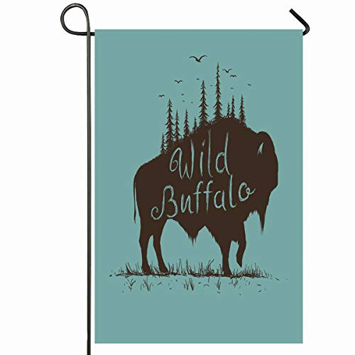 Ahawoso Outdoor Garden Flag 12x18 Inches Badge Wild Bison Forest On Him Vintage Buffalo American Bull Antique Design Seasonal Home Decorative House Yard Sign (Bison Bull American)