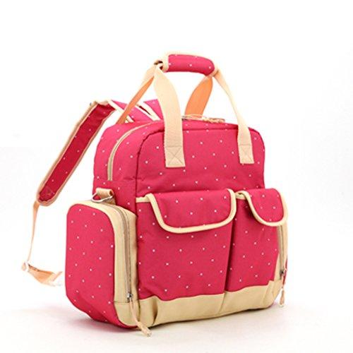 Bolso Mommy de la manera de la manga grande de los bolsos de Mama Bag Diagonal Bolso Mommy portable multiusos de la mam3a ( Color : Negro ) Rosa Roja