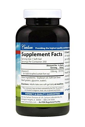 Carlson E-Gems 800 IU, Vitamin E, Heart Health, 250 Soft Gels by Carlson (Image #2)