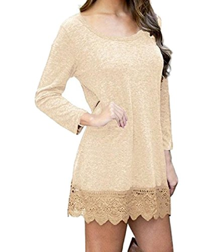 Stitching Size Fit Solid Party Women Dress Mid Plus Apricot Relaxed Coolred Lace wHSO6TgqS