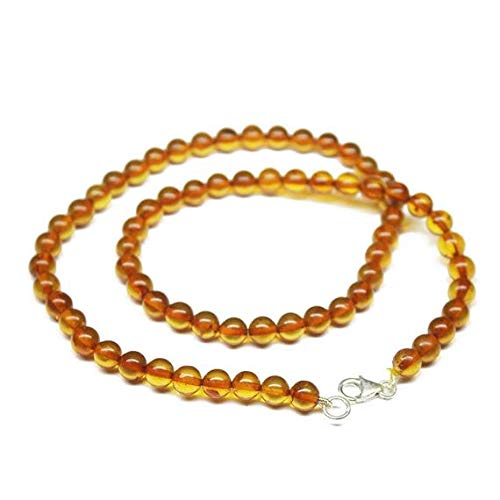 GemAbyss Beads Gemstone Natural Baltic Poland Amber Smooth Round Ball Gemstone Craft Loose Beads Strand Necklace 18 Inch Long 6.5mm Code-MVG-1063