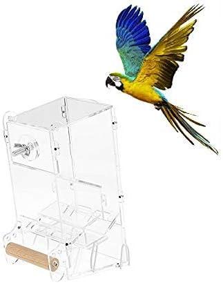 HEEPDD Comedero para jaulas de pájaros, Loros acrílicos Transparentes Semillas de Alimentos Contenedor de alimentación Sin desorden Comedero para pájaros automático con Percha para Periquito(S)