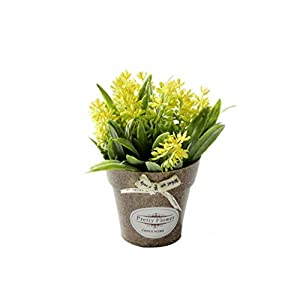 crystal004 Hybrid Fake Flower Grass with Plastic Vase Bonsai Artificial Flowers for Wedding Party Living Room Garden Farmhouse Decoration,Yellow 32