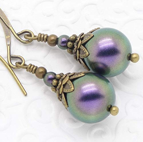 Purple Victorian Earrings with Simulated Pearl -