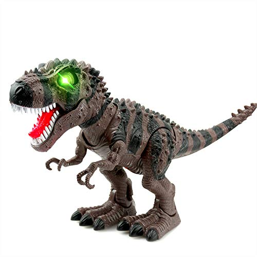WonderPlay Walking Dinosaur T-Rex Toy Figure with Lights and Sounds Realistic Tyrannosaurus Dinosaur Toys for Kids Battery Operated Brown -