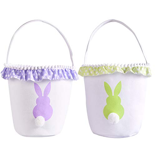 - Easter Bunny Basket Eggs Bags with Fluffy Tail Green Purple Canvas Cotton Rabbit Personalized Handbag Toys Bucket Tote Bag Storage Gifts Candies for Kids Girls with Handles (1Pack Green +1Pack Purple)