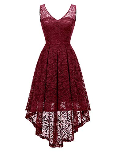 (Modecrush Womens Hi Lo Cocktail Party Prom V Neck Evening Formal Skater Lace Dress 2XL Burgundy)