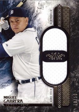 Miguel Cabrera Games - 2016 Topps Tier One Dual Relics #T1DR-MGA Miguel Cabrera Game Worn Jersey Baseball Card - Only 50 made!