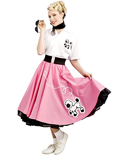 Rubie's Costume 1950s Poodle Skirt Costume, Black/Pink/White, Small