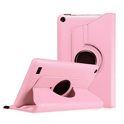 Price comparison product image For Kindle Fire HD 7, AMA(TM) New Leather 360 Rotating Folio Stand Case Protective Cover for Amazon Kindle Fire HD 7 Tablet (2015 Edition) (Pink)