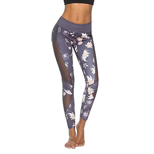 Mint Lilac Women's Printed Full-Length Leggings Athletic Workout Pants with Mesh Panels Large Dark Gray