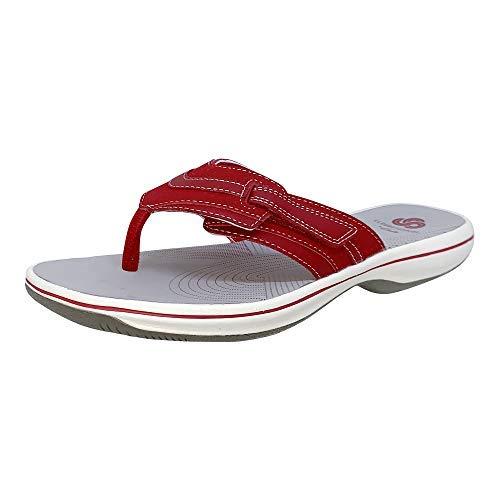 CLARKS Women's Brinkley Keely Flip-Flop, Red Synthetic, 8 M US