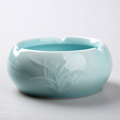 Znzbzt living room ceramic ashtray fashion creative oversized ashtray personalized wind resistant glass, porcelain ashtray, smoke cylinder - Blue (Blue)