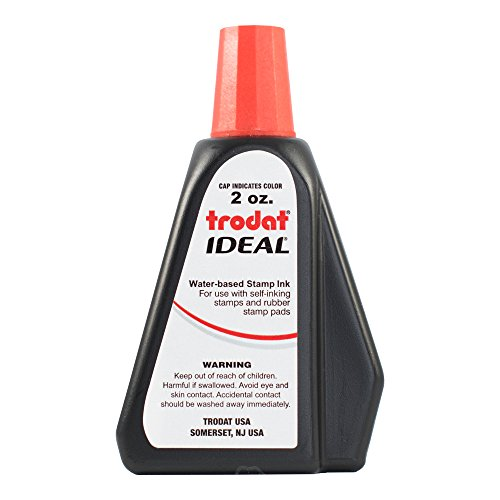 Trodat 53024  Ideal Premium Replacement Ink for Use with Most Self Inking and Rubber Stamp Pads, 2 oz., Red