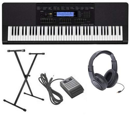 Casio WK-245 4 pc Ultra-Premium Keyboard Package With Headphones, Stand, Sustain Pedal and Power Supply